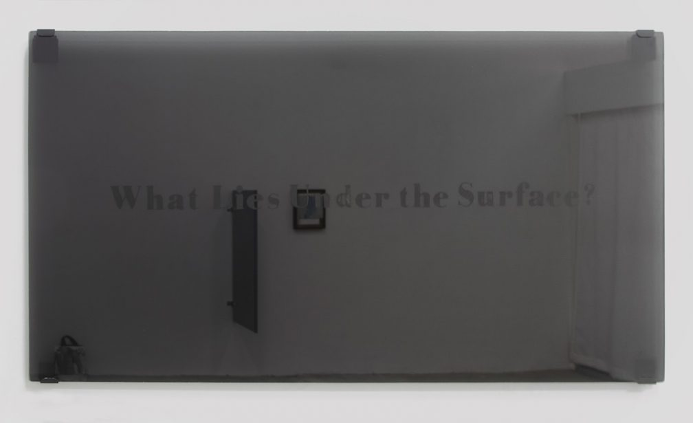 Projection (Far from Heaven), 2012, hand-etched black glass, mirror-hanging hardware, 4 elements