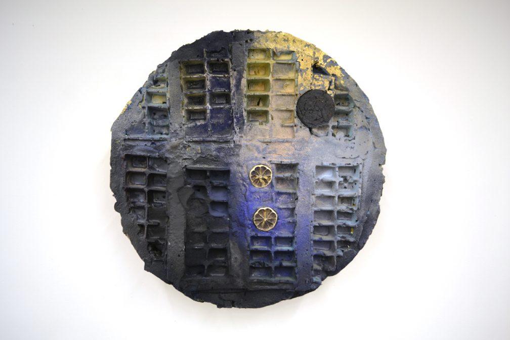 Lorraine Dauw, Titan Savor, 2013, foam, wax, plaster, acrylic paint, rock putty, lemon, cookie