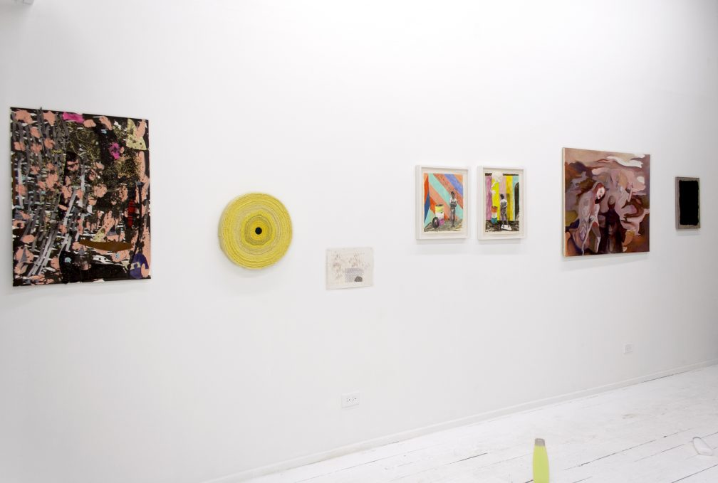 "L-R: William J. O'Brien ""Untitled"" (2007), Hunter Foster ""Moody Room"" (2014) and ""Untitled"" (2014), Richard Hawkins ""Sarrasine 4″ (2012) and ""Sarrasine 10″ (2012), Daisy Palma ""Into the Pit"" (2014). Photo courtesy The Hills Esthetic Center."