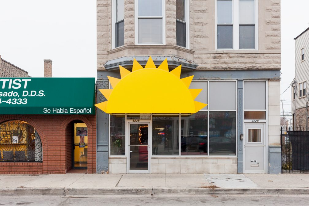 Storefront awning at 3228 W North Ave, Chicago, IL, November 2014