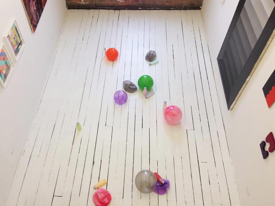 "Installation view. Center (floor): Alex da Corte ""Untitled (De/sublimation)"" (2014). Photo courtesy Matt Morris."