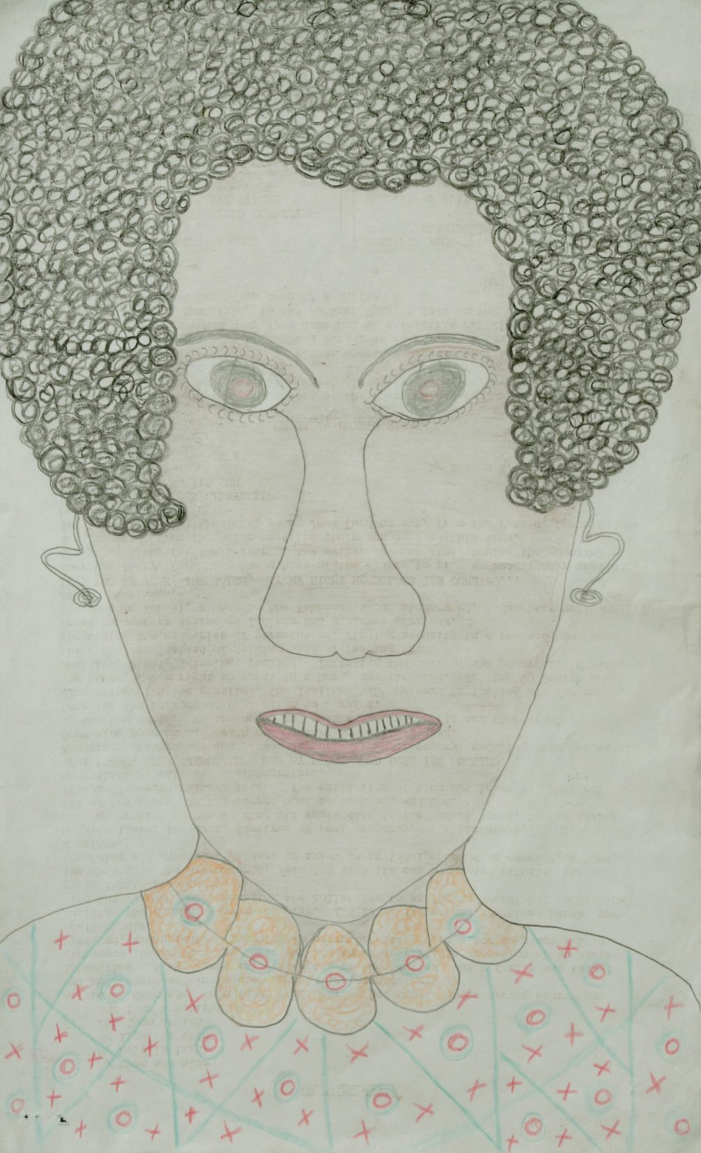Inez Nathaniel Walker (African American, 1911-1990). Untitled (Portrait of woman with necklace). Mixed media on typing paper, 18 1/2 x 13in. (46.99 x 33.02cm). Intuit: The Collection of Intuitive and Outsider Art. Gift of Margaret Robson.