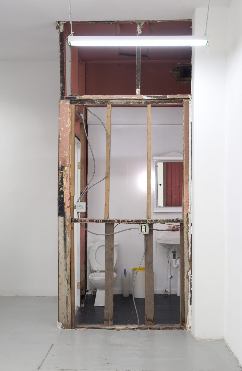 Untitled (Skeleton), bathroom drywall removal, 2014