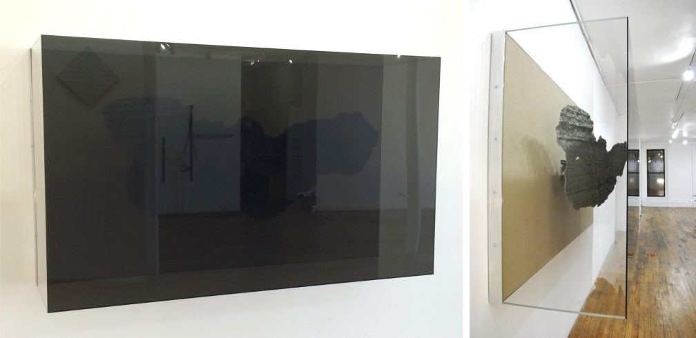 Daniel Baird, Recursion (4), Epoxy resin, monitor mount, tamperproof hardware, aluminum, linen, acrylic, MDF, 81 in x 47 in x 24 in